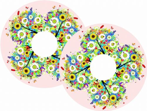 FLOWERS Wheelchair Spoke Guard Sticker Skins